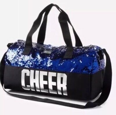 Justice Girl's Cheer Flip Sequin Duffle Bag NWT BLUE Cheerleader Silver NEW 2017