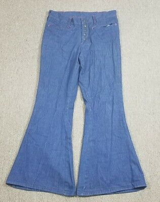 Vtg JC Penney's Super Bells BELL BOTTOMS Button Fly Dark Thin Blue Jeans 29x28.5