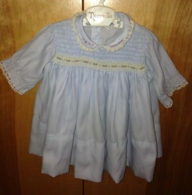 Vintage Nannette Smocked Baby Blue Dress With Embroidere Flowers White Lace Trim