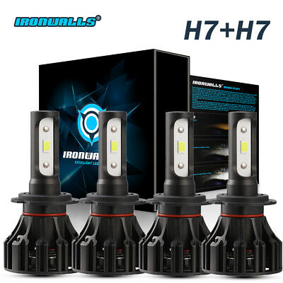 H7 + H7 Combo Pack CREE LED Headlights Conversion kit Total 2400W Bulbs 6000K