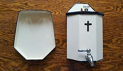 vtg antique hospital holy water stoup porcelain enamelware