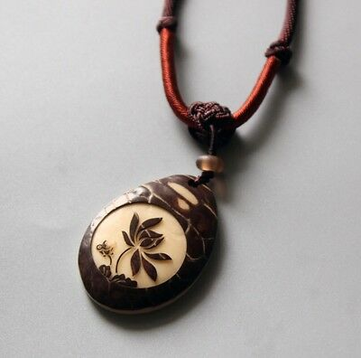 Buddhist Necklace With Handcarved Tagua Nut  Lotus Flower Zen Pendant