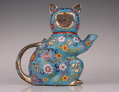Only One Old China Cloisonne Bronze Statue Cat Teapot Royal Collection