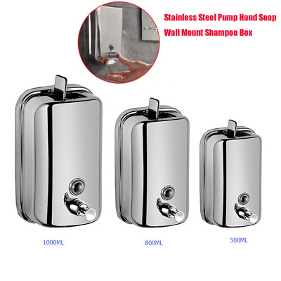 Stainless Steel Soap Shampoo Dispenser Polished Wall Mounted Commercial Grade UK