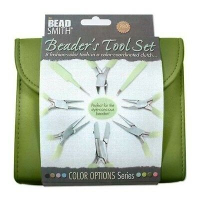 BEADSMITH 8 FASHION- OLIVE COLOR TOOL SET FOR MAKING JEWELRY with COORDINATED CL