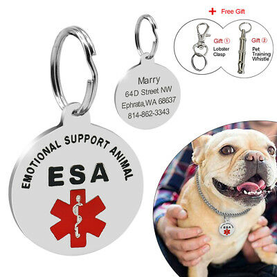 Emotional Support Animal Dog ID Tags Medical Alert Customized ESA Tag Engraved