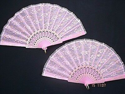 2 Pink Gold Flower Lace Hand Fan Dance Wedding Chinese Birthday Spanish Party