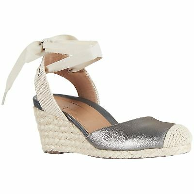 3492700888a VIONIC ARUBA MARIS Pewter Womens Leather Wedge Close-toe Sandals