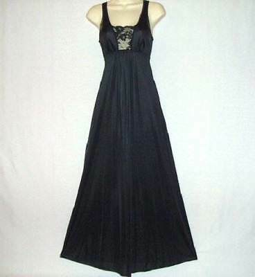 Vtg Seductive Black Sheer Lace Silky Soft Shimmery Figure Hugging Nightgown S