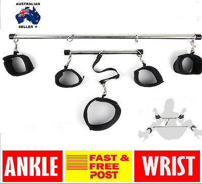 Lockable Bondage slave Spreader Bar Wrist Ankle Cuffs Restraints Toy Hand+Leg