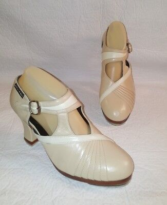 "MILLER and BEN ""La Coquette"" Beige Leather Tap Shoes Women's Size 41 N /  9.5 N"