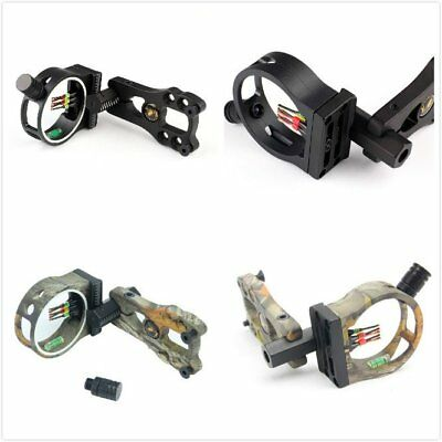 5Pin Black/Camo Fibre Optic Bow Sight For Compound Bow Led Light Hunting Archery