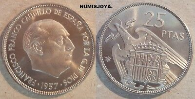 FRANCO. ESCASA moneda de 25 Pesetas PROOF año 1957 en estrella 75.