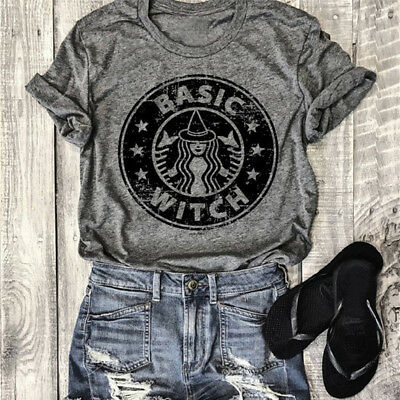 New Fashion Women's Brown T-shirt Short Sleeve Basic Witch Letters Printing Tops