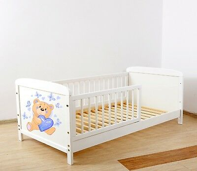 NEW WHITE- JUNIOR TODDLER  COT-BED 140x70 no 28 - INCLUDING FOAM MATTRESS