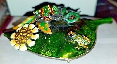 NIB Jeweled Collection Frogs on Leaf Hinged Box Trinket Box Free Ship