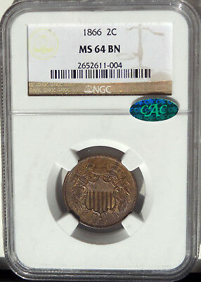 2c 1866 Two Cent NGC MS-64 BN, Brown, CAC Green bean