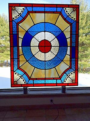 Antique Late 1800's Victorian House Patriotic Stained Slag Glass Stairway Window