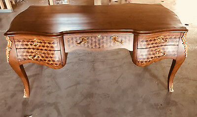 Wood Desk French Style Louis Xv With Brass Decoration And Five Drawers