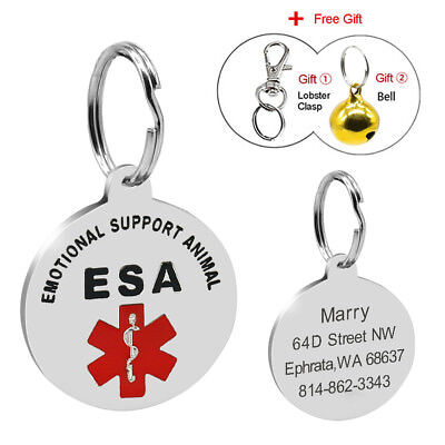 Emotional Support Animal Dog ID Tags Stainless Steel Custom ESA Service Pet Tags