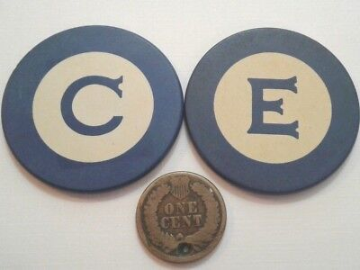 Rare unlisted Vintage blue CASINO C E Inlay Poker Chip PUERTO RICO / CARIBBEAN