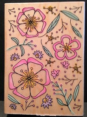 Hero Arts - Flowers and Leaf Background - H4588 - Wood Mounted Rubber Stamp