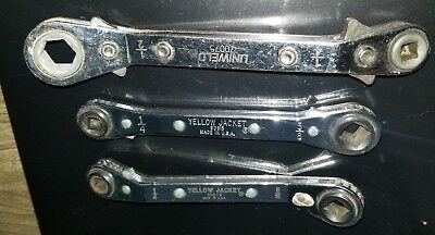 Yellow Jacket No.60616,60613 and one uniweld 70075 offset ratchet wrench,