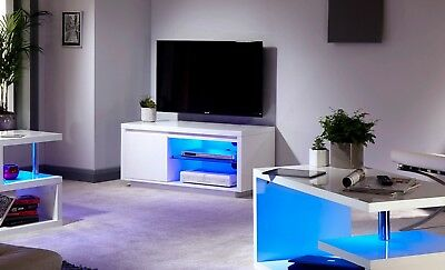 White Gloss Living Room Furniture Tv Stand Coffee Table Night Glow Led Lights