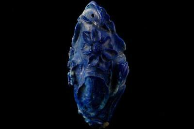Antique Chinese Carved Lapis Water Flower Pendant Amulet Apc-803