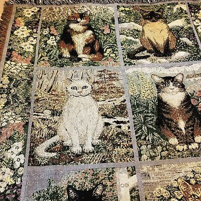 Garden Cats Afghan Cotton Tapestry Woven Throw Kitties Flowers 50x57 Inches