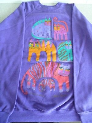 Vintage LAUREL BURCH Sweatshirt: Fantastic Felines:  M / L:  Purple