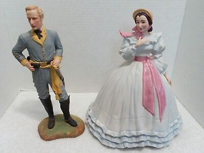 Franklin Mint Melanie(1988) & Ashley(1989) Wilkes Gone with the Wind Figurines