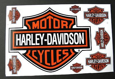 HARLEY DAVIDSON Motorcycles Orange Bar Shield Biker Sticker Set 8 Stickers