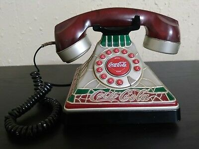 Coca-Cola Push Button Stained Design Light-Up Telephone - Not Tested - See Notes