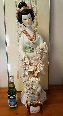 "Antique ~ Vintage ~ Geisha Porcelain Large 26.5"" Figurine Statue Sculpture RARE"