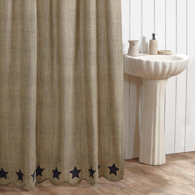New Primitive Country Farmhouse GRAY NAVY BLUE STAR Fabric Shower Curtain