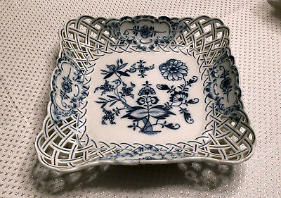 Meissen Blue Onion Reticulated Square Dish Antique