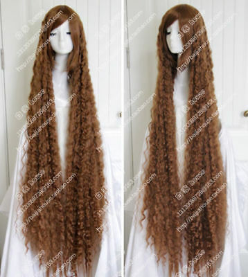 150cm 60'' Light Brown thread Curly Long hair Christmas heat resistant party wig