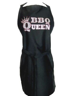 Apron Black One Size Hand Embellished Rhinestone BBQ QUEEN Design
