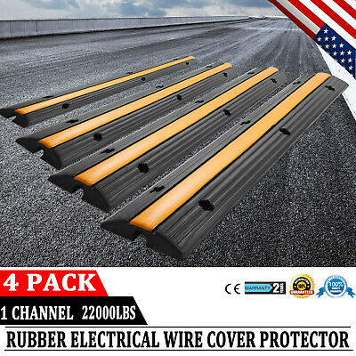 4pcs 1 Channel Rubber Cable Protector Ramps Wire Cover Warehouse Guard 22000lbs