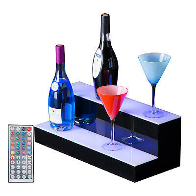 "20"" 2 LED Liquor Bottle Display Shelf Wine Rack Bar Supply Stand Wireless Remote"