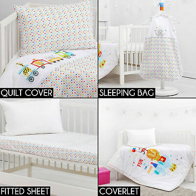 CIRCUS COT COMPLETE SET Fitted Sheet Coverlet Quilt Cover Bunting Boy Girl Baby