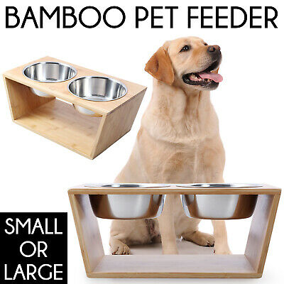 DUAL ELEVATED BAMBOO PET FEEDER + 2 STEEL BOWLS Cat Dog RAISED Food Water Bowl