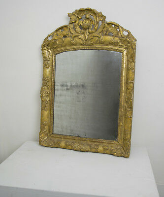 18th century french crested gilded hand carved wood mirror