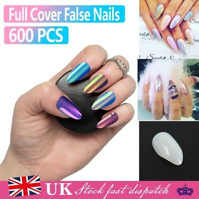 600 False Nail Stiletto Full Cover Natural Acrylic Artificial sizes 0-9 Nail UK
