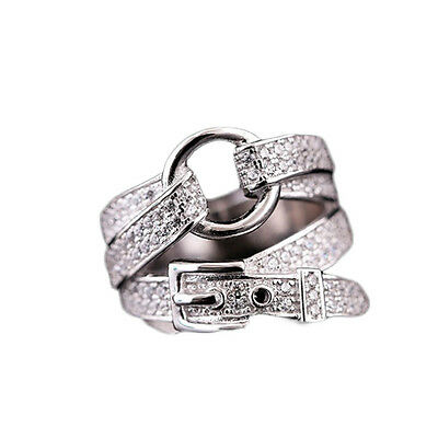 Women's Girls Silver Plated Zircon Belt Buckle Fashion Ring Jewelry Unique Gift