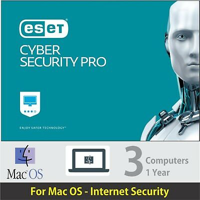 ESET Cyber Security Pro For Mac OS - 2018, 3 PCs -1 Year- Delivery eBay message.