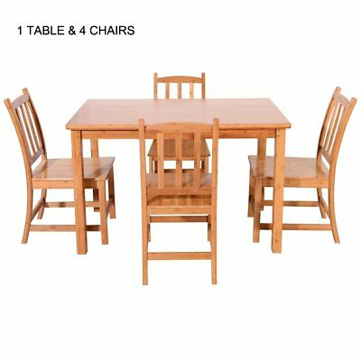 Hot 5 Piece Dining Table Set Bamboo Kitchen Breakfast Furniture w/4 Chair Wood