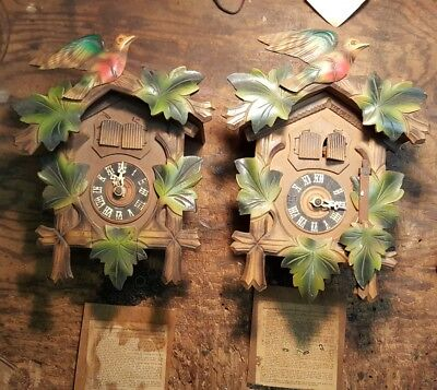 Pair Cuckoo Clock G M Angem Made in Germany Parts or Restoration with music box