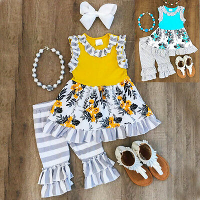 USA Toddler Kids Baby Girl Floral Sleeveless Tops Pants 2Pcs Outfit Clothes 1-6Y